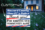 "Local Sheriff's Police thank you yard sign, full size 18""x24"" double sided with a sign stake - All Out Canvas"