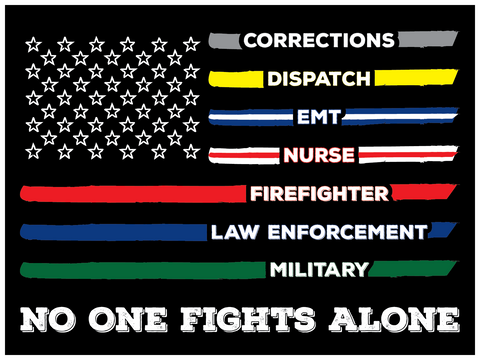 No One Fights Alone, First Responders Flag Stickers - All Out Canvas