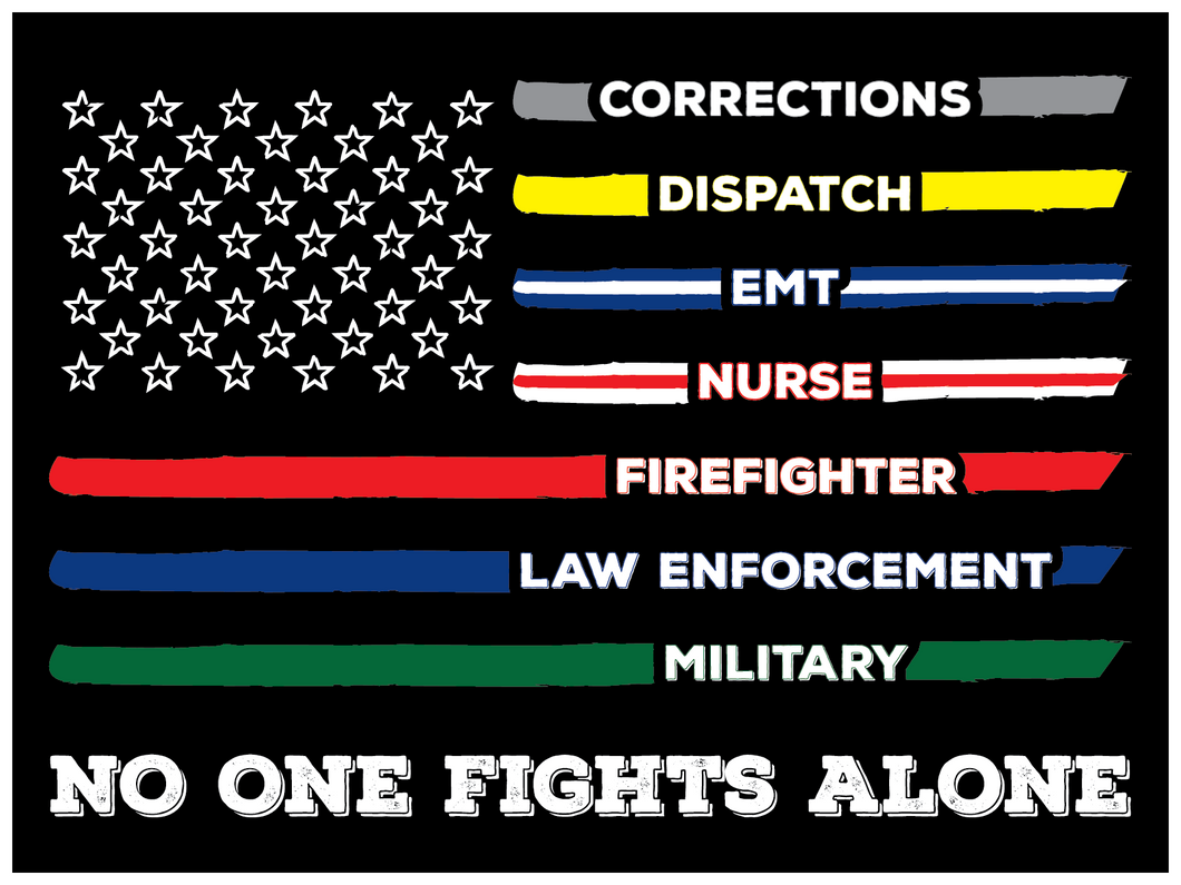 No One Fights Alone, First Responders Flag Stickers