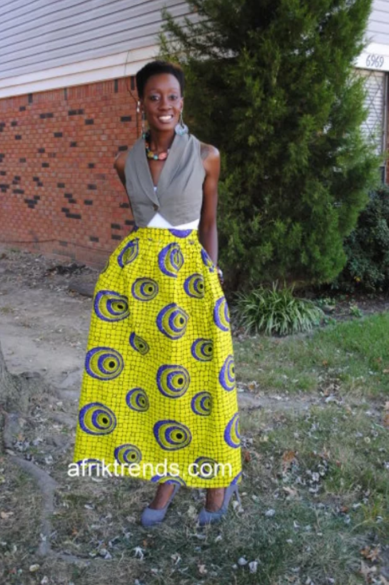 African print Ankara skirt with pockets
