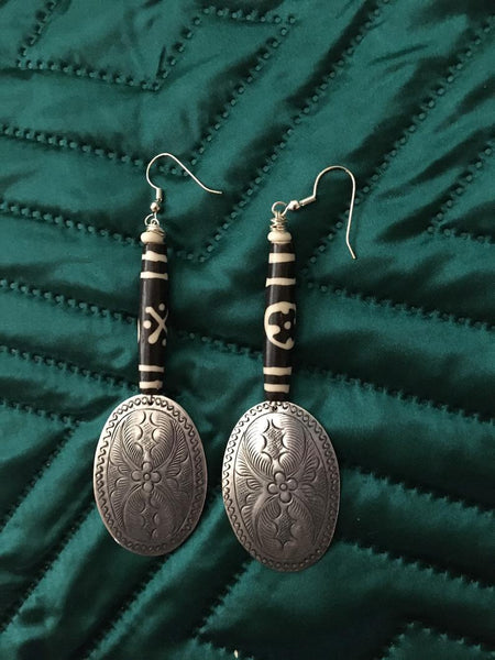 Bone Silver Ethnic Earrings