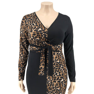 Plus Size Leopard Print Maxi Dress