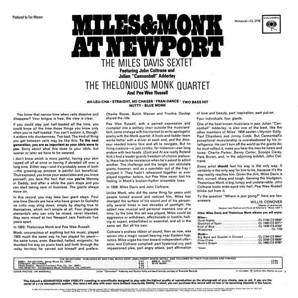 LP The Miles Davis Sextet & The Thelonious Monk Quartet ‎– Miles & Monk At Newport
