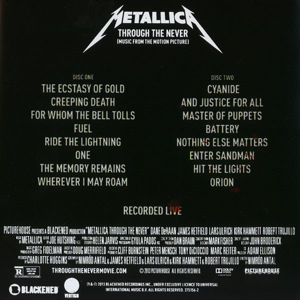 CD Metallica ‎– Through The Never (Music From The Motion Picture)