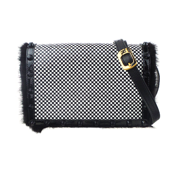 Fendi | Fur Trim Checkered Crossbody Bag