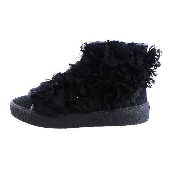 Chanel | Camellia High Top Black Lace Sneakers