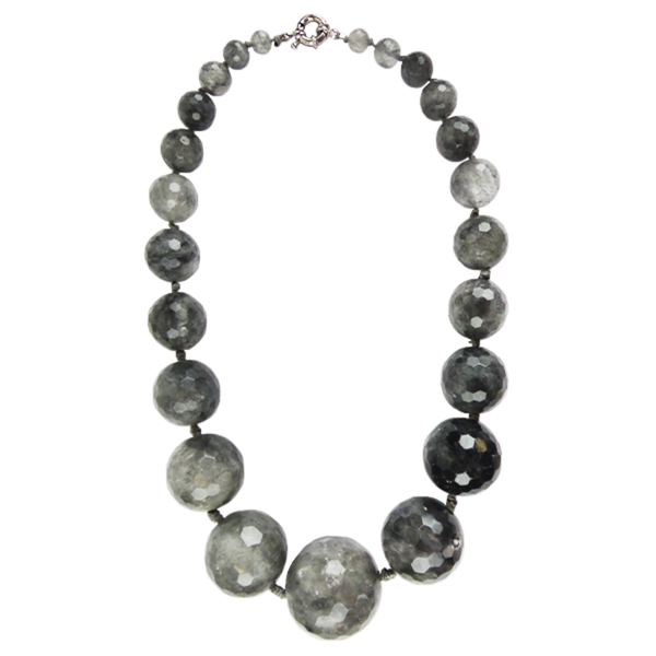 Grey Faceted Agate Grad Stone Necklace