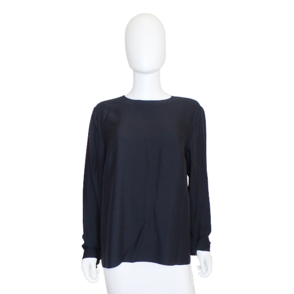 Chanel | Black Silk Buttoned Blouse