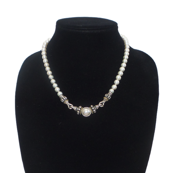 Lagos | Caviar Kissing Clasp Pearl Necklace