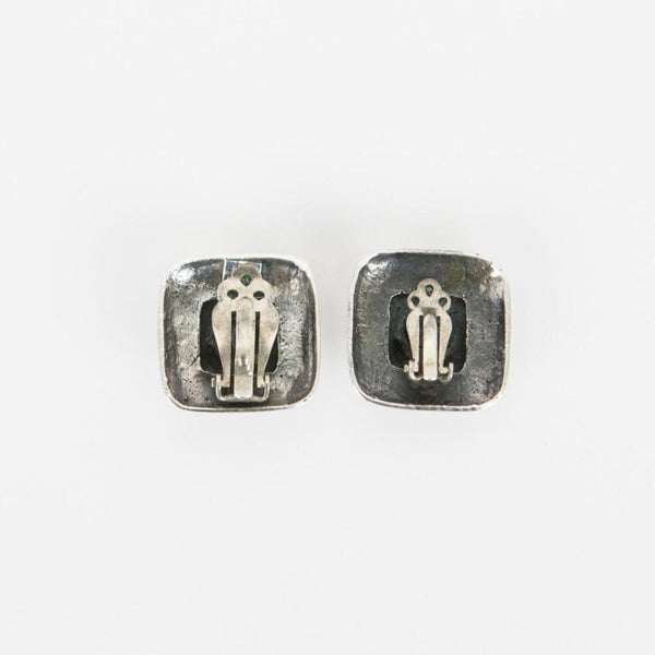 Dian Malouf | Silver Square Clip-On Earrings