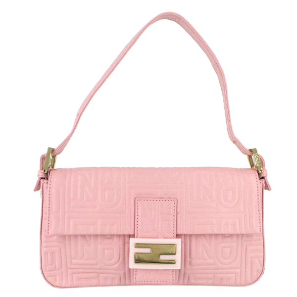 Fendi | Pink Logo-Embossed Baguette Bag