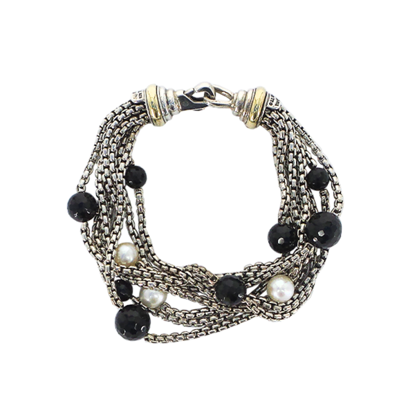 David Yurman | Pearl & Onyx Multi Chain Bracelet
