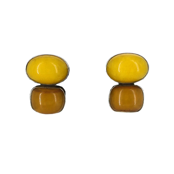 Rebecca Collins | Yellow Amber Clip Earrings