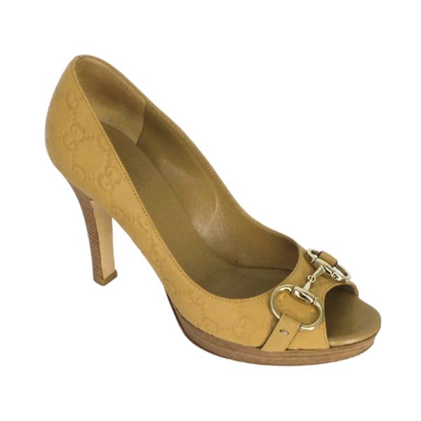 Gucci | Beige Guccissima Horsebit Pumps