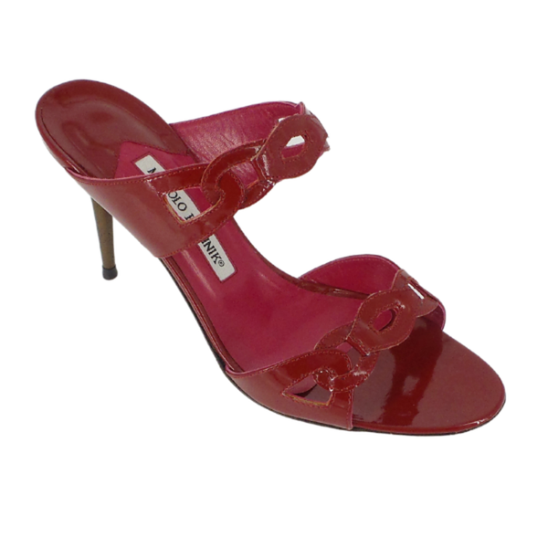 Manolo Blahnik | Red Patent Stiletto Slides