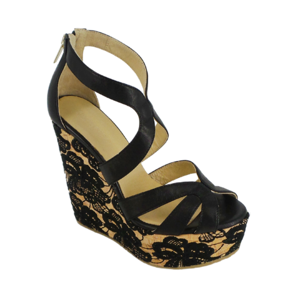 Jimmy Choo | Black Floral Embroidered Cork Wedges