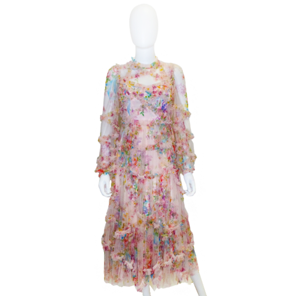 Needle & Thread | Floral Diamond Ruffle Ballerina Dress