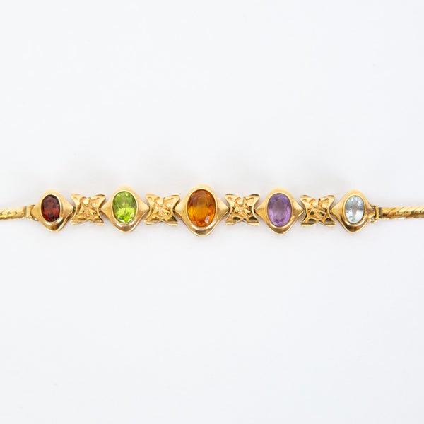 14K Gold Multi Jewel Bracelet