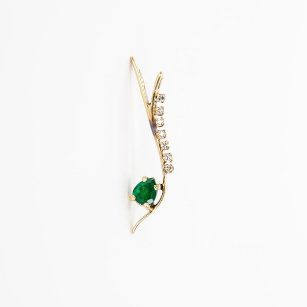 14K Gold Emerald Wave Pendant