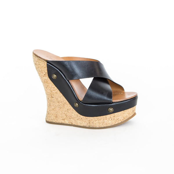Chloe | Black Crossover Slide Wedge