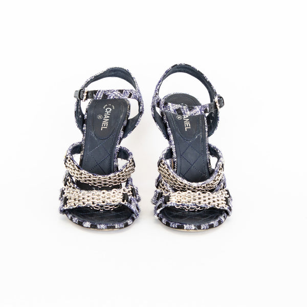Chanel | Navy 16P Tweed Chain Sandals