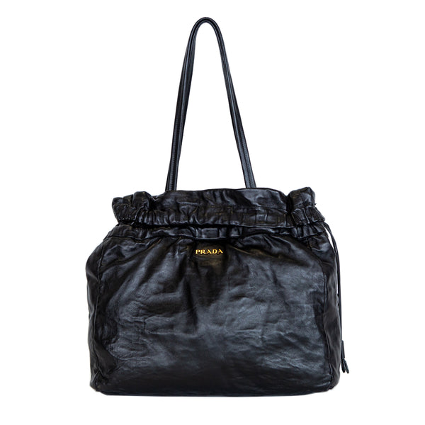 Prada | Black Nappa Antique Drawstring Tote