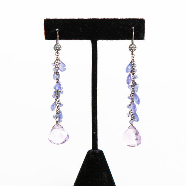 Wendy Brigode | Amethyst & Diamond Drop Earrings
