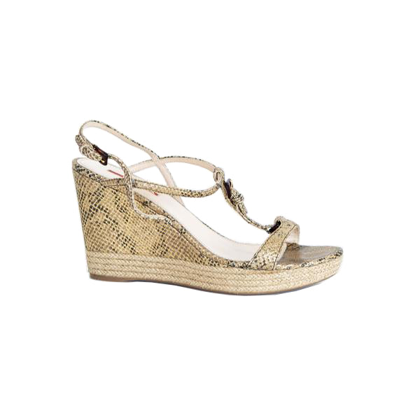 Prada | Gold Embossed Espadrille Wedges