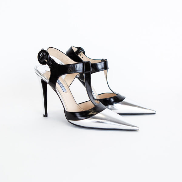 Prada | Metallic T-Strap Pumps
