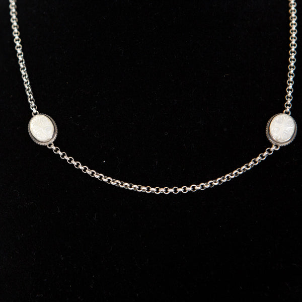 Konstantino | Silver Mother of Pearl Necklace