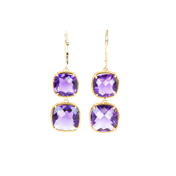 Matthew Trent | 18K Amethyst Drop Earrings