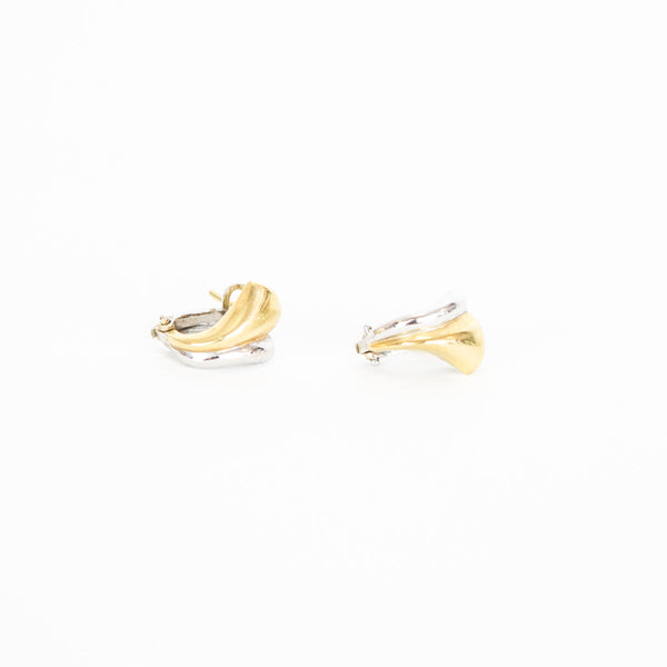 Vintage | 18k White and Yellow Gold Earrings