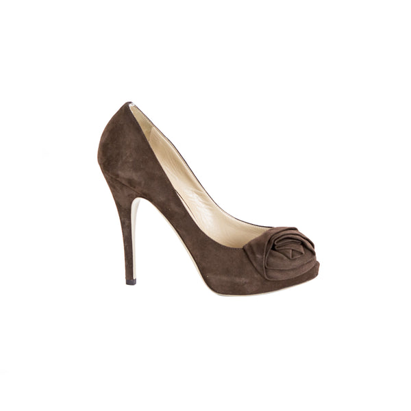 Valentino | Brown Suede Peep Toe Pumps
