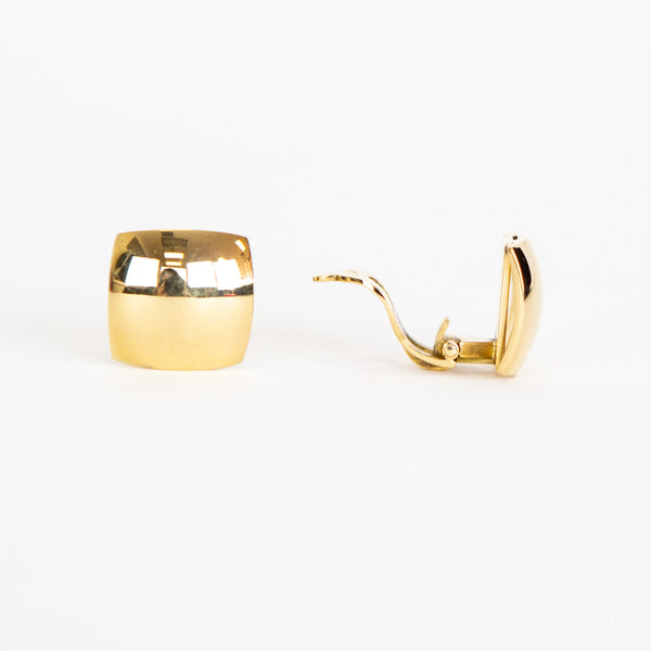 18K Gold Square Dome Clip On Earrings