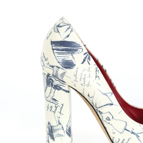 Moschino | Pep-Toe Sketch Print High Heels