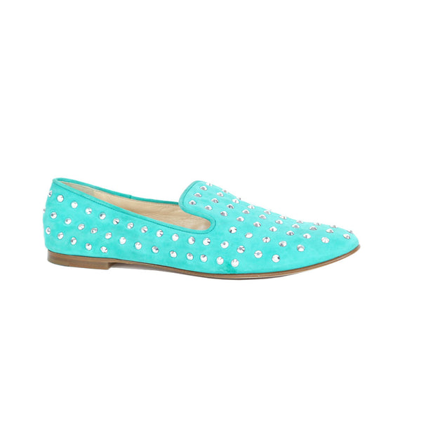 Giuseppe Zanotti | Crystal Round-Toe Turquoise Loafers SOLD ON EBAY
