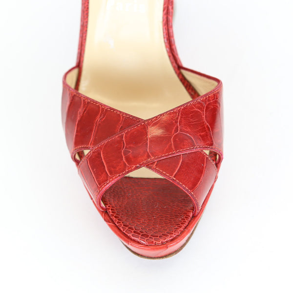 Christian Louboutin | Red Leather Wedges