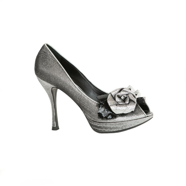 Louis Vuitton | Metallic Floral Peep-Toe Pumps