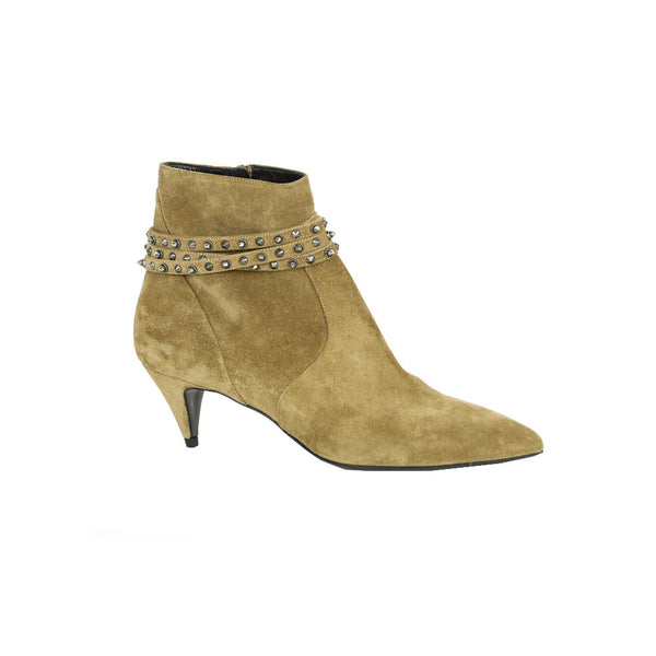 Saint Laurent | Beige Suede Ankle Booties