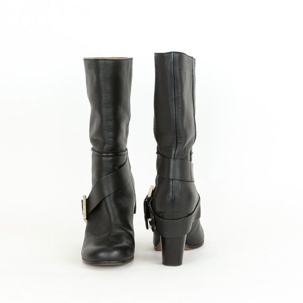 Chloe | Black Leather Booties