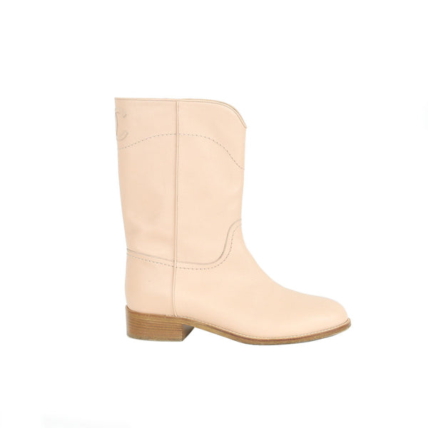 Chanel | CC Neutral Pink Mid-Calf Boots