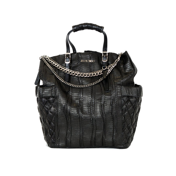 Jimmy Choo | Black Pleated Matt Elaphe Tote Bag