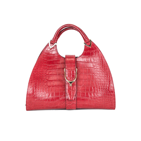 Gucci | Red Crocodile Stirrup Handbag