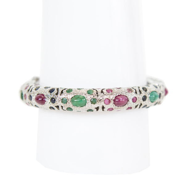 Multi Jewel Silver Bangle
