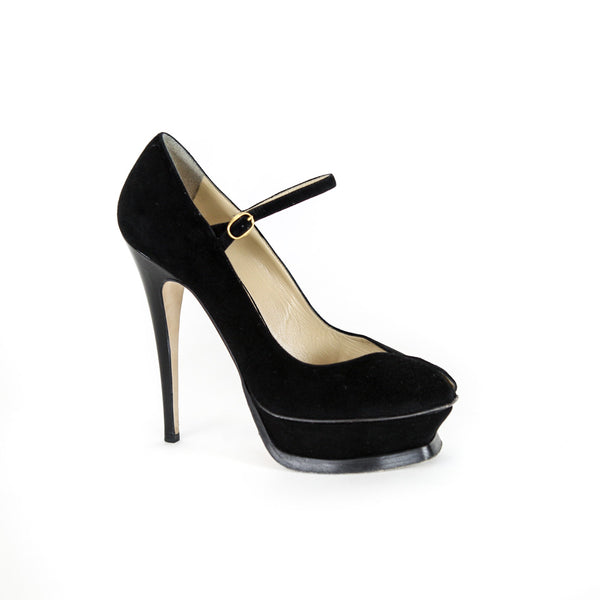 YSL | Black Suede Tribute Mary Jane Pumps