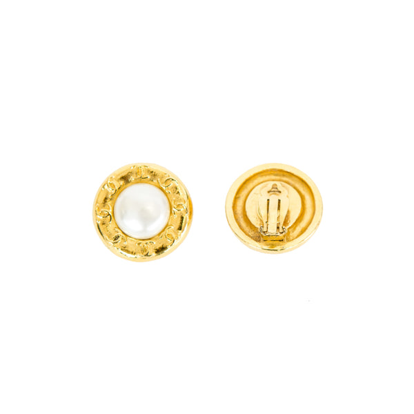 Chanel | Faux Pearl Button Clip-On Earrings