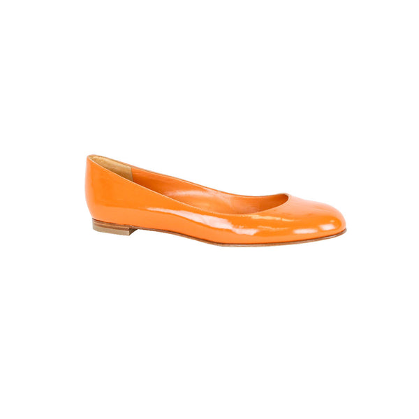 Manolo Blahnik | Orange Patent Leather Flats