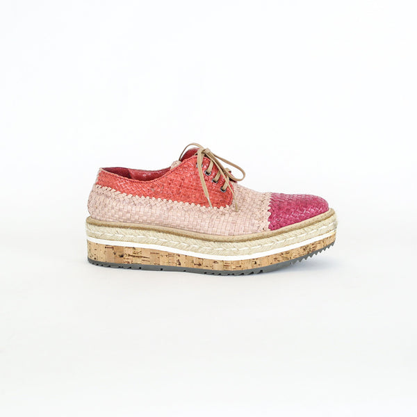 Prada | Woven Leather Platform Oxford