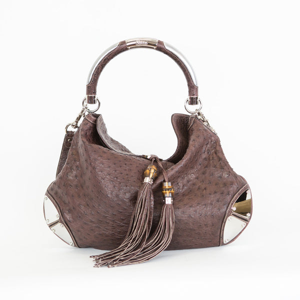 Gucci | Ostrich Large Indy Hobo Bag