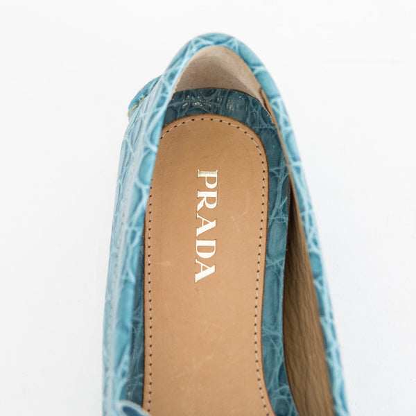 Prada | Turquoise Leather Loafers